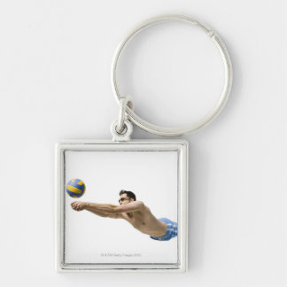 Diving volleyball player Silver-Colored square key ring