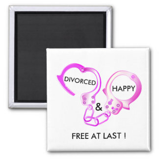 Divorced finally free pink open handcuff square magnet