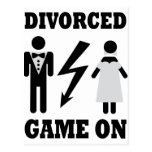 divorced game on icon post card