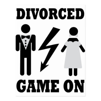 divorced game on icon postcard