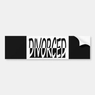 Divorced Half And Half, Black And White Car Bumper Sticker