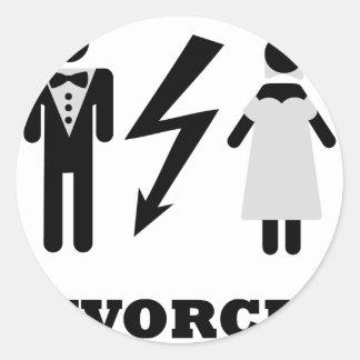 divorced icon round sticker