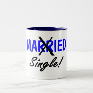Divorced Single (Blue) Two-Tone Coffee Mug