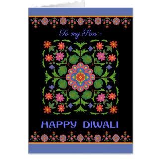 Diwali Card for a Son, Rangoli Pattern on Black