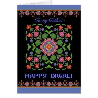 Diwali Card for Father, Rangoli Pattern on Black