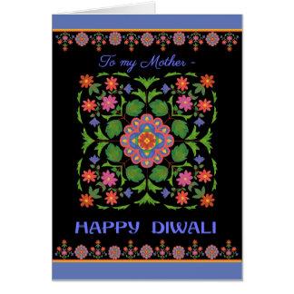 Diwali Card for Mother, Rangoli Pattern, Black