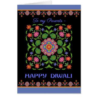 Diwali Card for Parents, Rangoli Pattern, Black