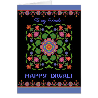 Diwali Card for Uncle, Rangoli Pattern on Black
