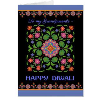Diwali Card, Grandparents, Rangoli Pattern, Black Card
