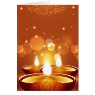 Diwali celebration golden Candles Greeting Card