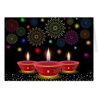 Diwali Celebrations with Glowing Lamps & Fireworks Card