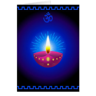 Diwali Decorative Glowing Lamp Greeting Card