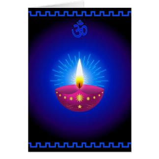 Diwali Decorative Glowing Lamp Greeting Card