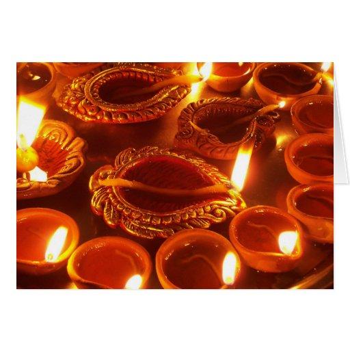 diwali diya candles card