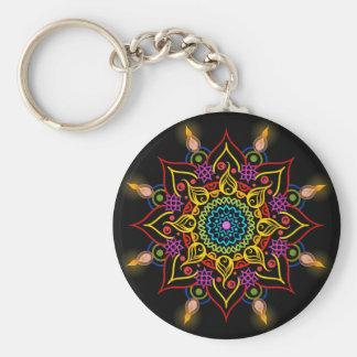 Diwali flower Rangoli with oil lamps Basic Round Button Key Ring