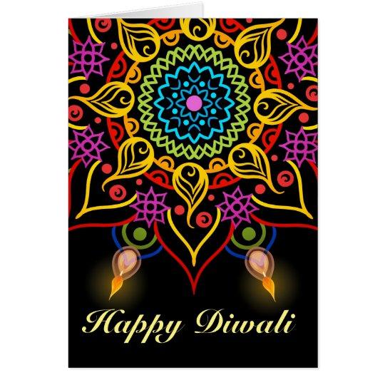 Diwali flower Rangoli with oil lamps Card