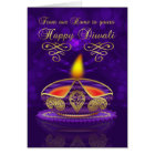 Diwali Greeting Card In Gold And Purple With Lamp