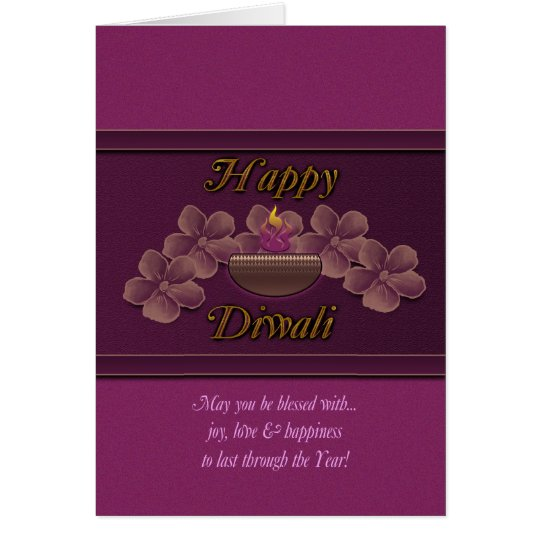 Diwali Greeting Card With Lamp And Flowers Purple