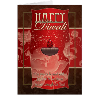 Diwali Greeting Card With Lamp And Flowers Red And