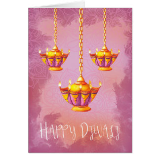 Diwali Greeting With Watercolor Lights Card