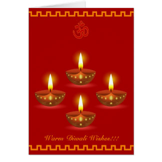 Diwali Greetings with Decorative Glowing Lamps Greeting Card