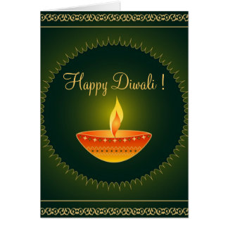 Diwali lamp on green - Card