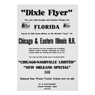Dixie Flyer was the Nation's Premier Train Service Poster