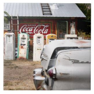 Dixon, New Mexico, United States. Vintage car Large Square Tile