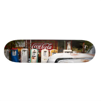 Dixon, New Mexico, United States. Vintage car Skateboard