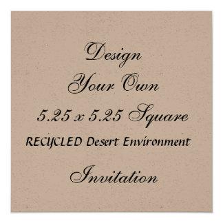 DIY 5.25 x 5.25 Recycled Paper DESERT ENVIRONMENT 13 Cm X 13 Cm Square Invitation Card