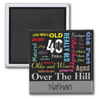 DIY Age | 40th Happy Birthday Square Magnet