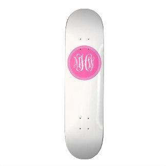 DIY Background, Hot Pink Vine Script Monogram Skateboards