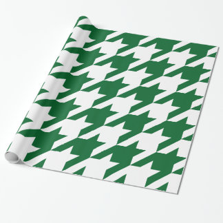 DIY Background XXXL White Houndstooth Forest Green Wrapping Paper