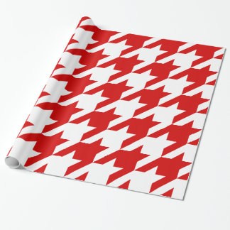DIY Background XXXL White Houndstooth Red Wrapping Paper