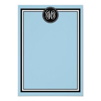 DIY BG, Black Frame Preppy Vine Script Monogram #2 5x7 Paper Invitation Card