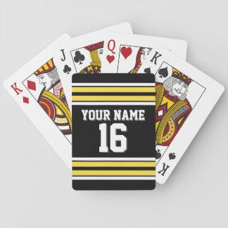 DIY BG Blk Yellow Team Jersey Custom Number Name Playing Cards