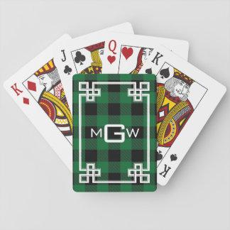 DIY BG Greek Key Buffalo Plaid 3I Forest Green Playing Cards