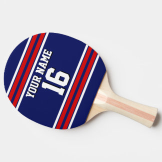 DIY BG Navy Red Team Jersey Custom Number Name Ping Pong Paddle