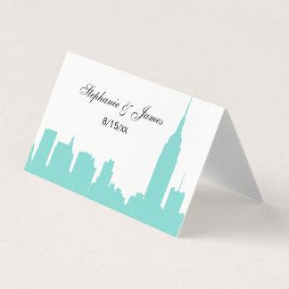 DIY BG NYC Skyline Silhouette Turq Escort Cards