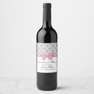 DIY BG Vintage Silver Wht Damask Pink Bow Wine Label