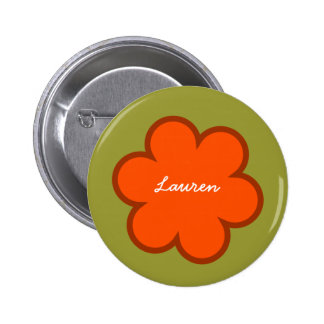 DIY Big Flower LAUREN or ANY Name ORANGE GREEN 6 Cm Round Badge