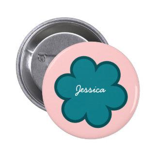 DIY Big Heart JESSICA or ANY Name V01 TEAL Flower 6 Cm Round Badge
