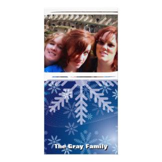 DIY Blue Christmas Snowflakes Custom Photo Customized Photo Card