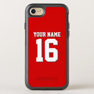 DIY Color Background Preppy Team Jersey Red OtterBox Symmetry iPhone 7 Case