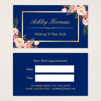 DIY Color | Floral Gold Beauty Salon Appointment Business Card