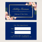 DIY Colour | Floral Gold Beauty Salon Appointment Business Card