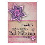 DIY Colourful Bat Mitzvah design Post Cards