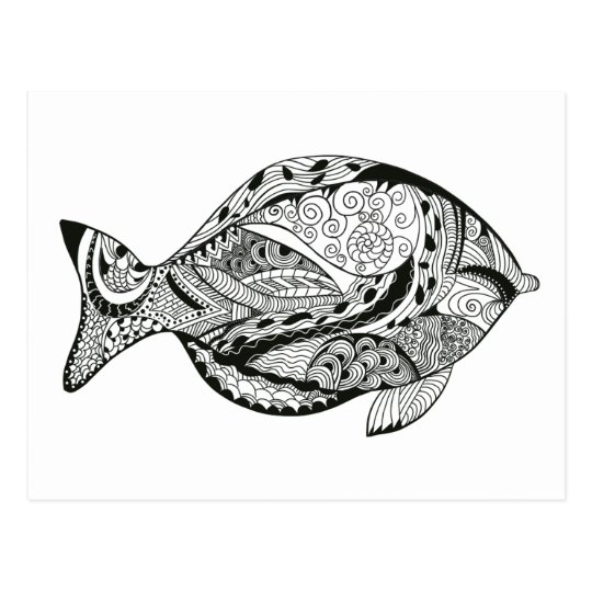 DIY colouring in fish line-art design Postcard