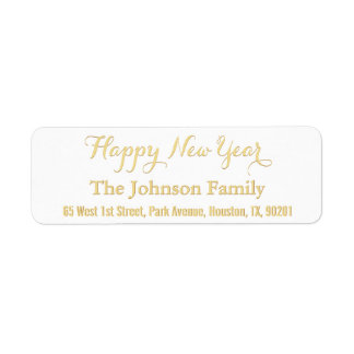 DIY Custom Faux Gold Happy New Year Return Address