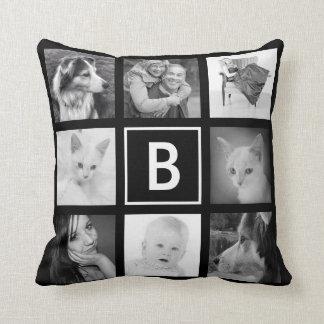 DIY Custom Instagram Photo Grid with Monogram Throw Pillow